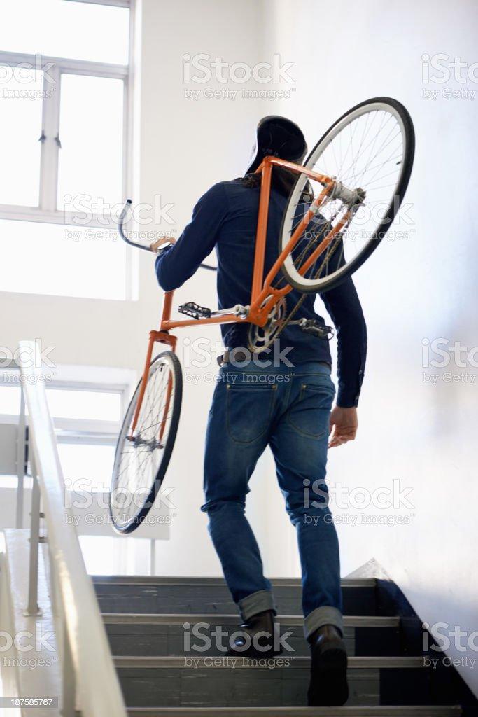 He prefers eco-friendly transport stock photo