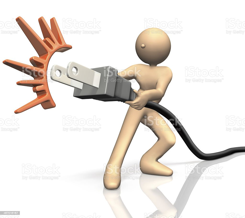 He pulled an outlet for energy saving. royalty-free stock photo