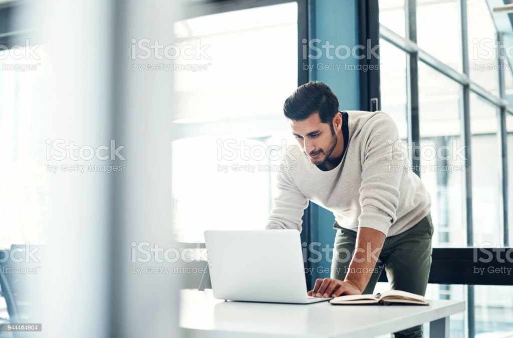 He puts his all into every task stock photo