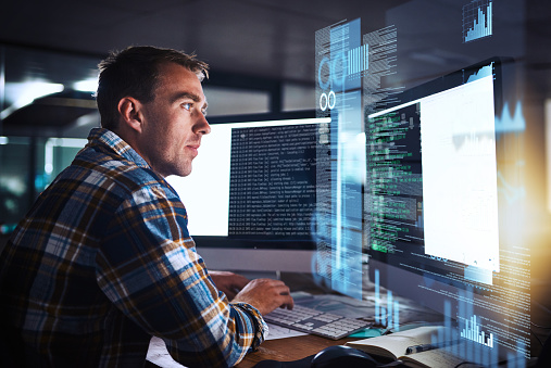 He Puts The Pro In Programmer Stock Photo - Download Image Now
