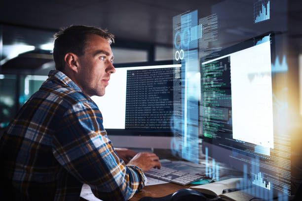 He puts the pro in programmer stock photo