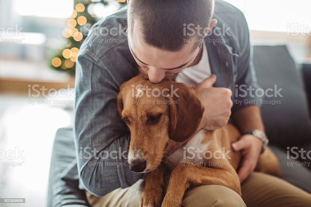 He really is man's best friend - foto stock