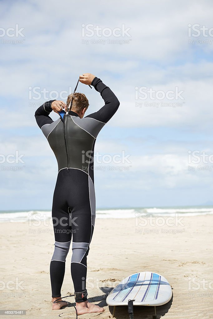He surfs every day stock photo