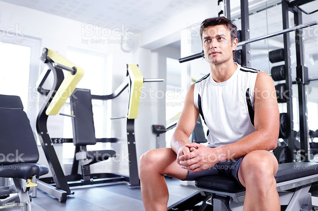 He takes his fitness very seriously stock photo
