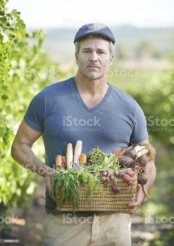 He takes organic food seriously royalty-free stock photo