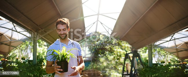 istock He takes pride in his plants 532270980