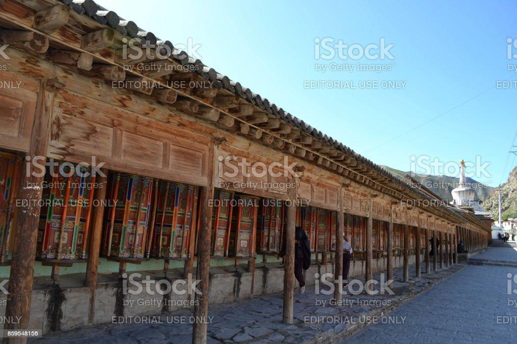 he Tibetan kora or pilgrimage and prayer wheels in Xiahe (Labrang), Amdo Tibet stock photo