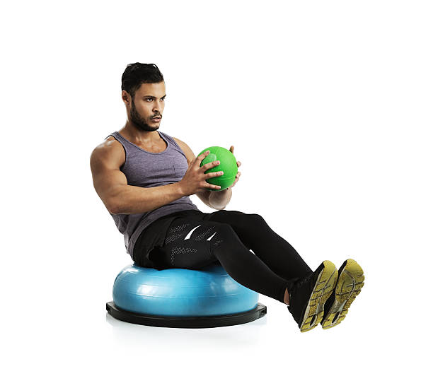 He uses all types of equipment in his training stock photo