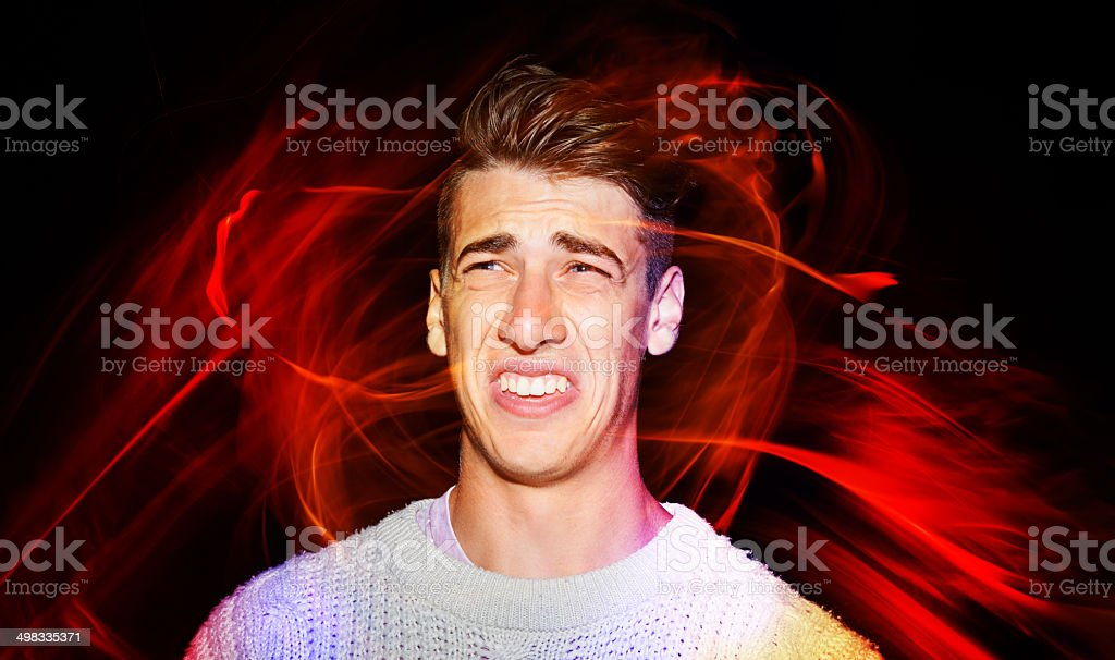He wasn't that excited for a fireworks display... royalty-free stock photo