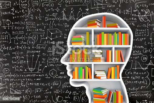 istock Head and books on blackboard with complicated formulas 536754349