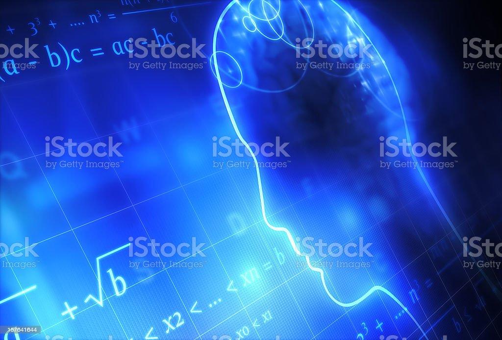 Head and Mathematics royalty-free stock photo