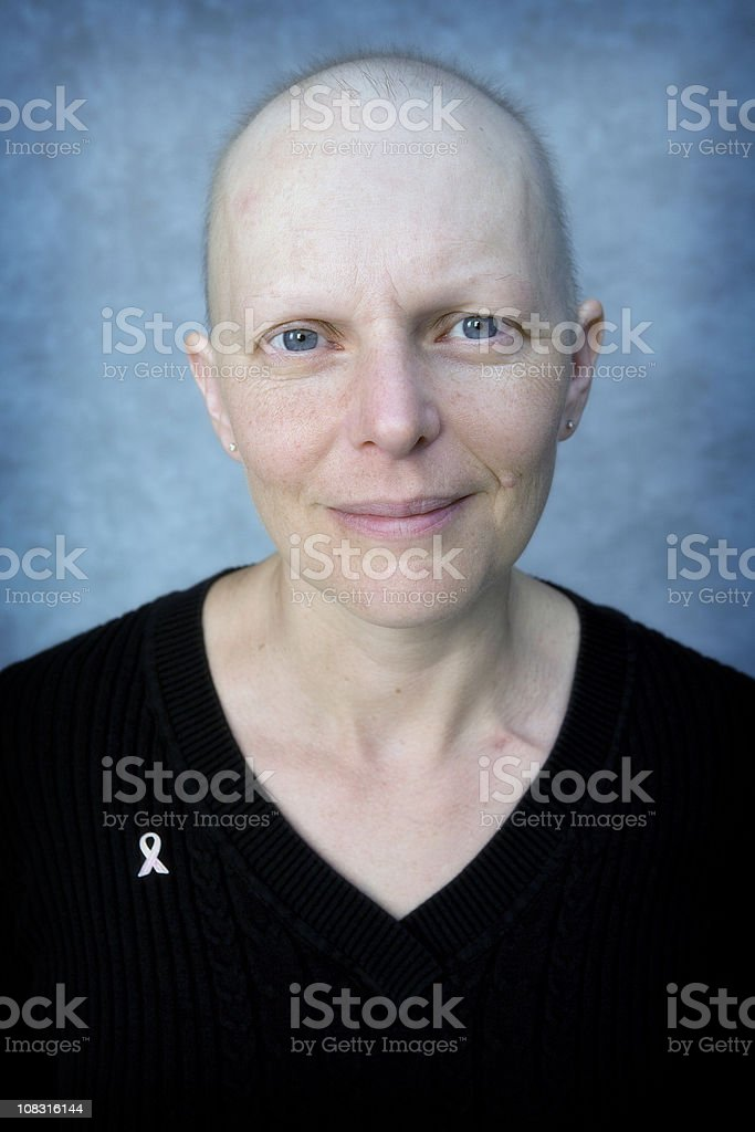 Head and shoulder portrait of a cancer patient. royalty-free stock photo