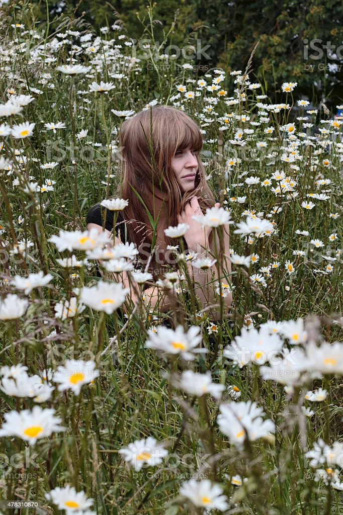 Latvian flower girl in bed of ox-eye daisies stock photo