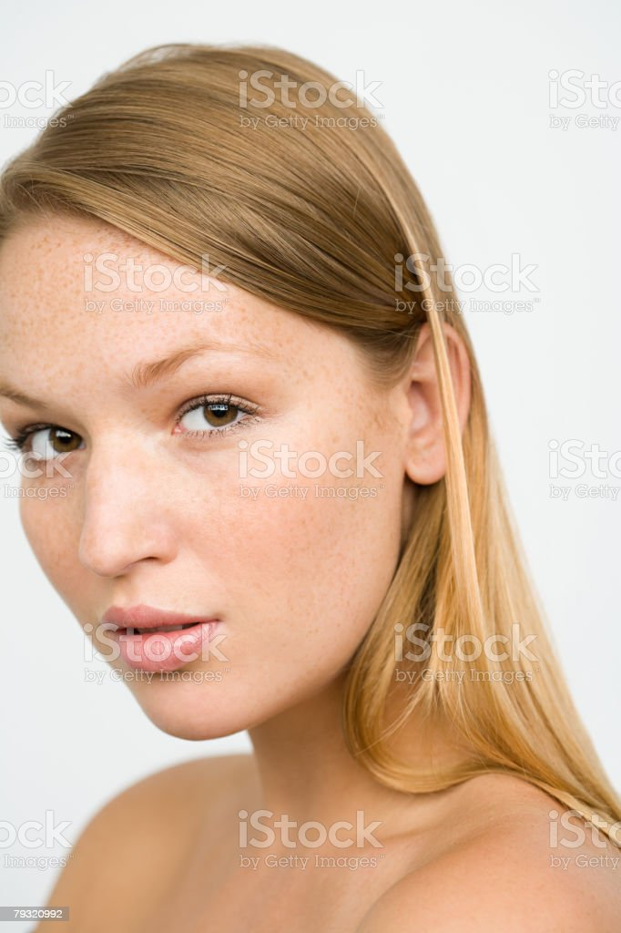 Head and shoulders of a young woman royalty-free 스톡 사진