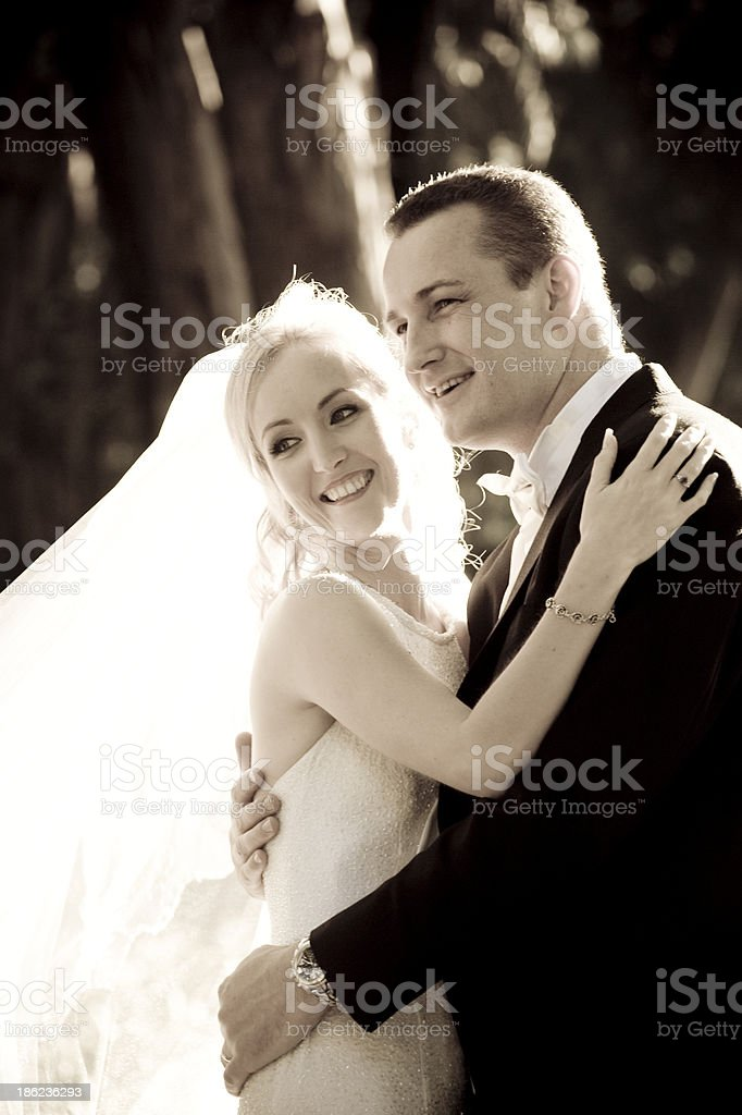 Head and shoulders of bridal couple royalty-free stock photo