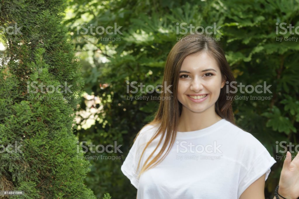 Head and shoulders portrait Bulgarian outdoor girl beauty in woodland stock photo