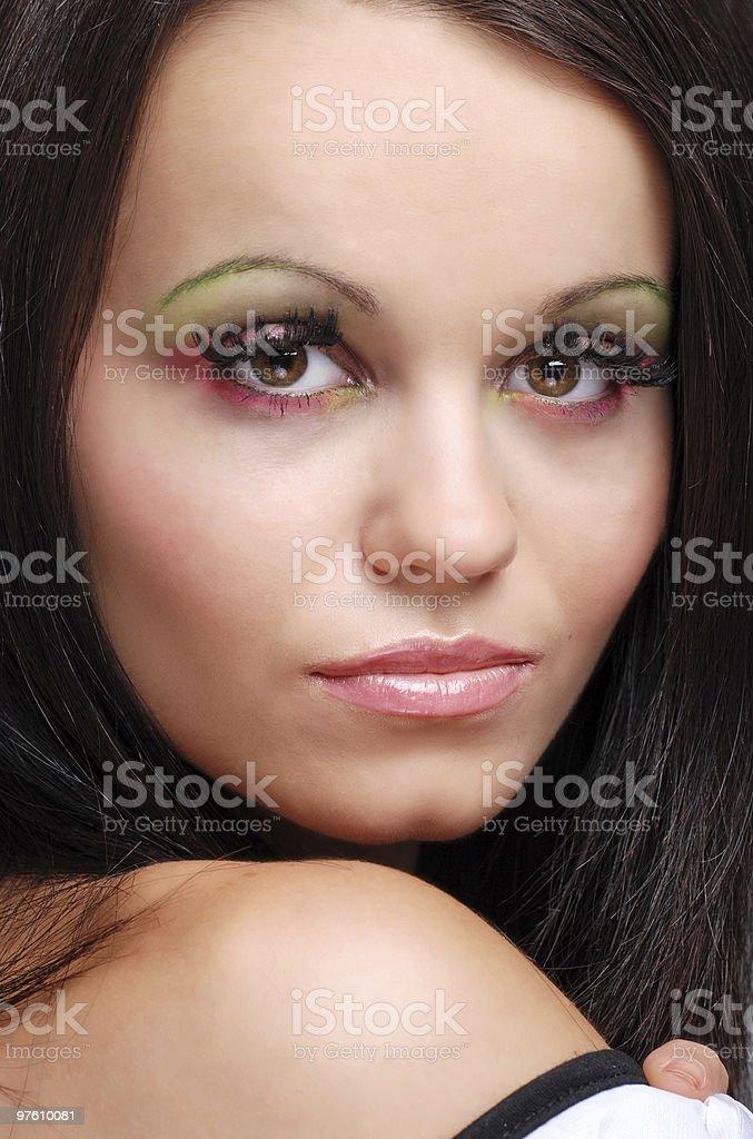 head and shoulders portrait of young brunette woman royaltyfri bildbanksbilder