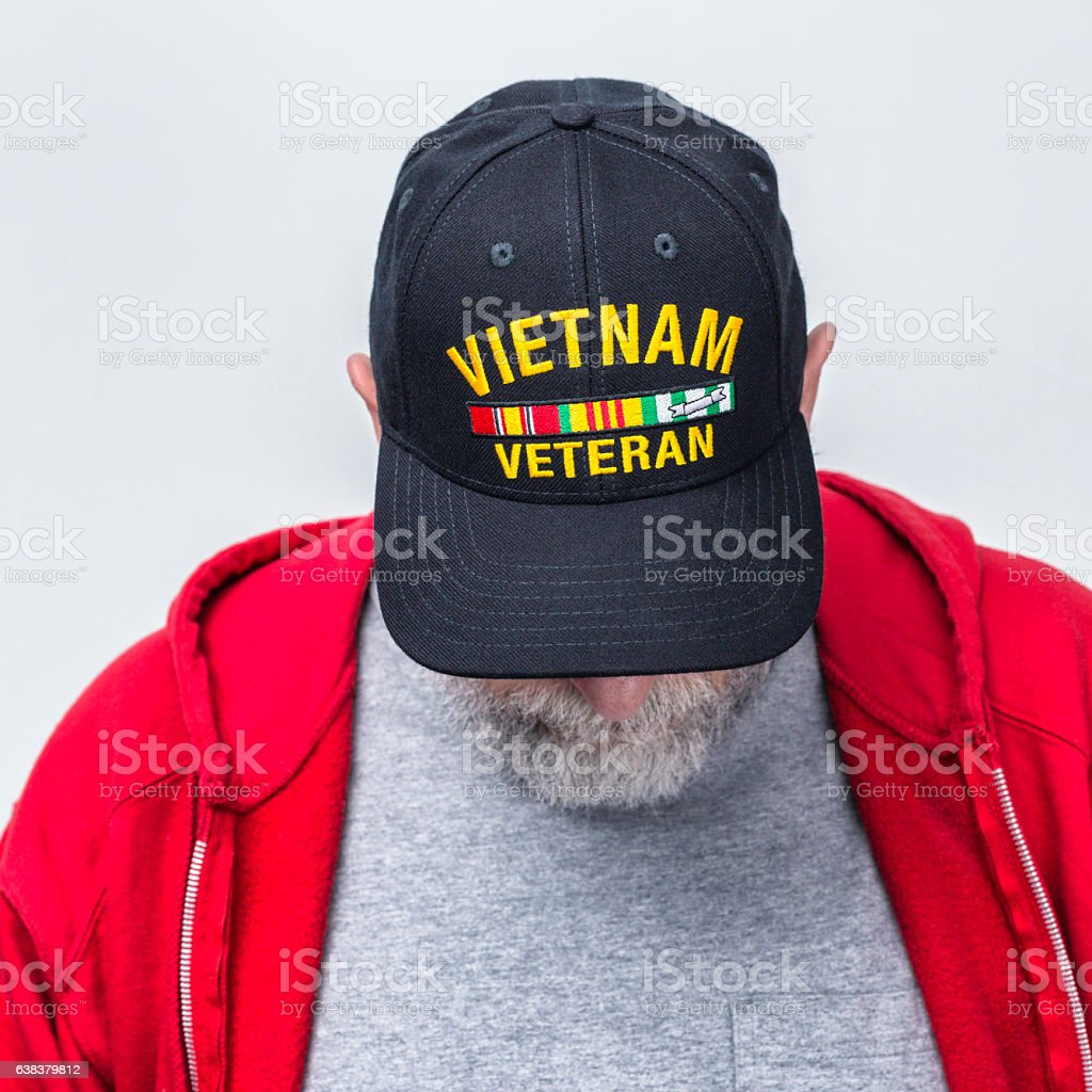 Head Bowed Moment Of Silence USA Military Vietnam War Veteran stock photo