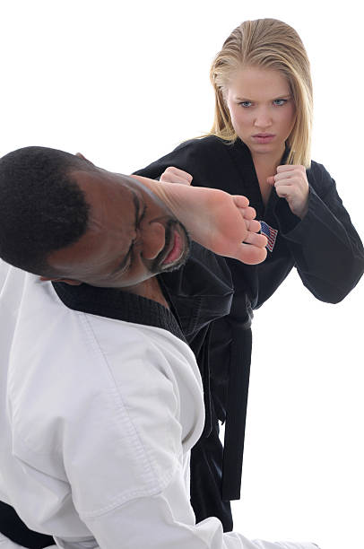 head contact - karate stock photos and pictures