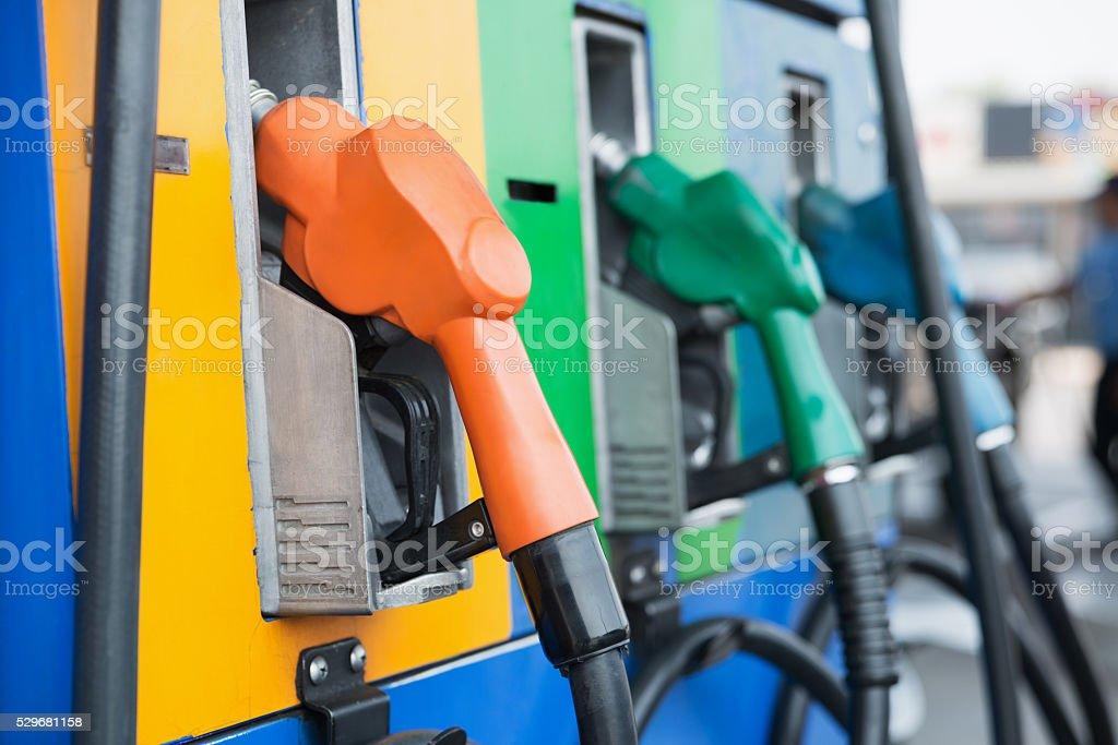 Head fuel vehicle refueling facility stock photo