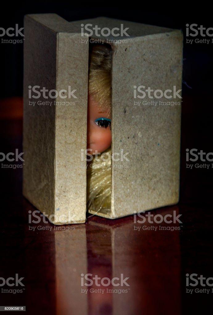 Head in a box. stock photo