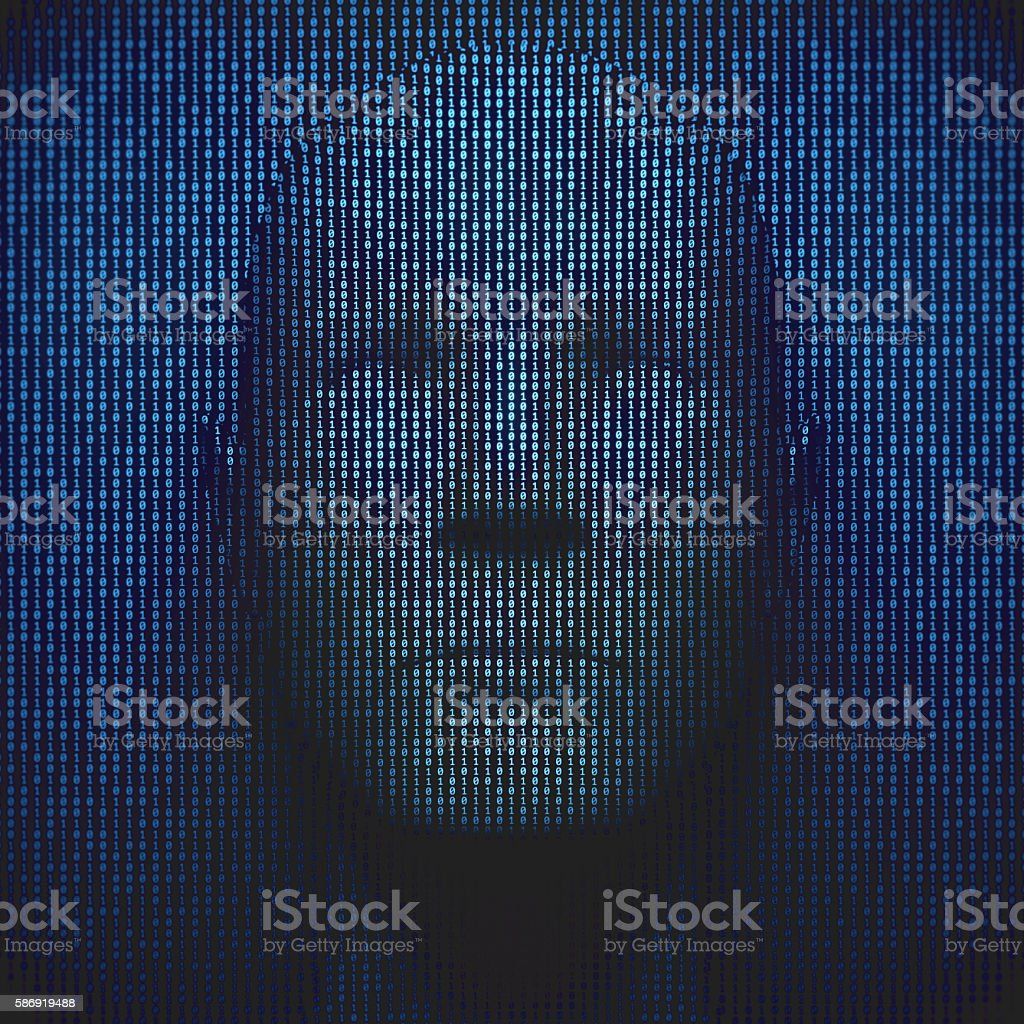 3D Head In Binary Code - Photo