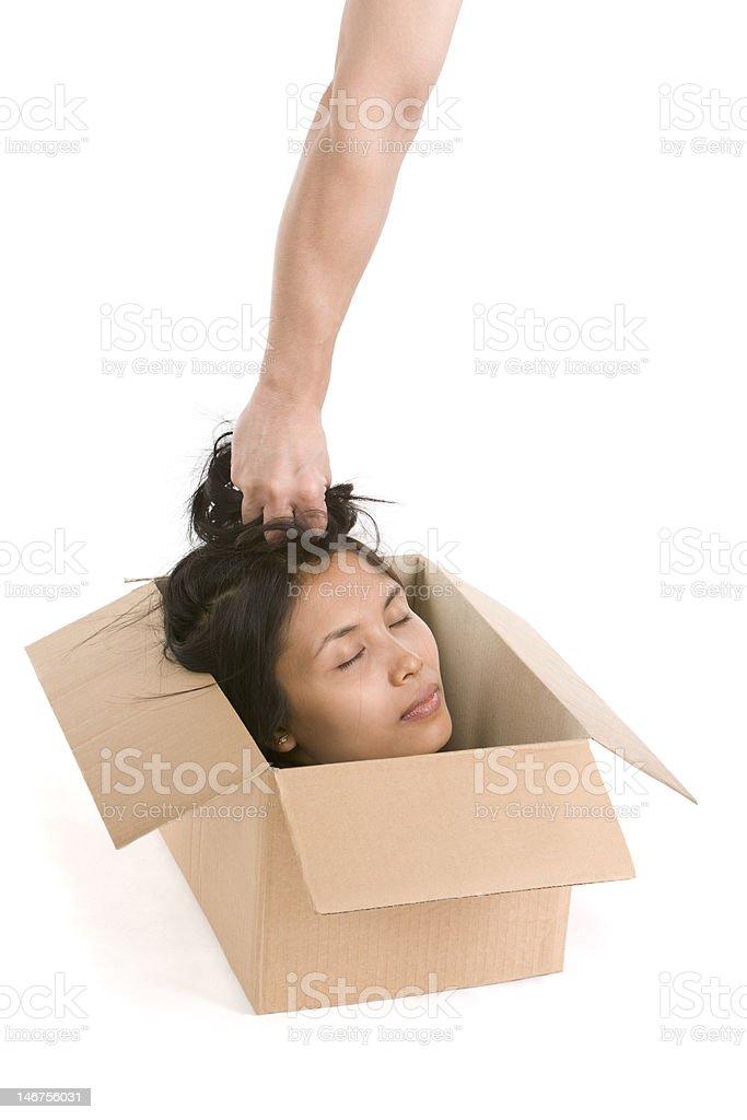 Head in box series - silence royalty-free stock photo