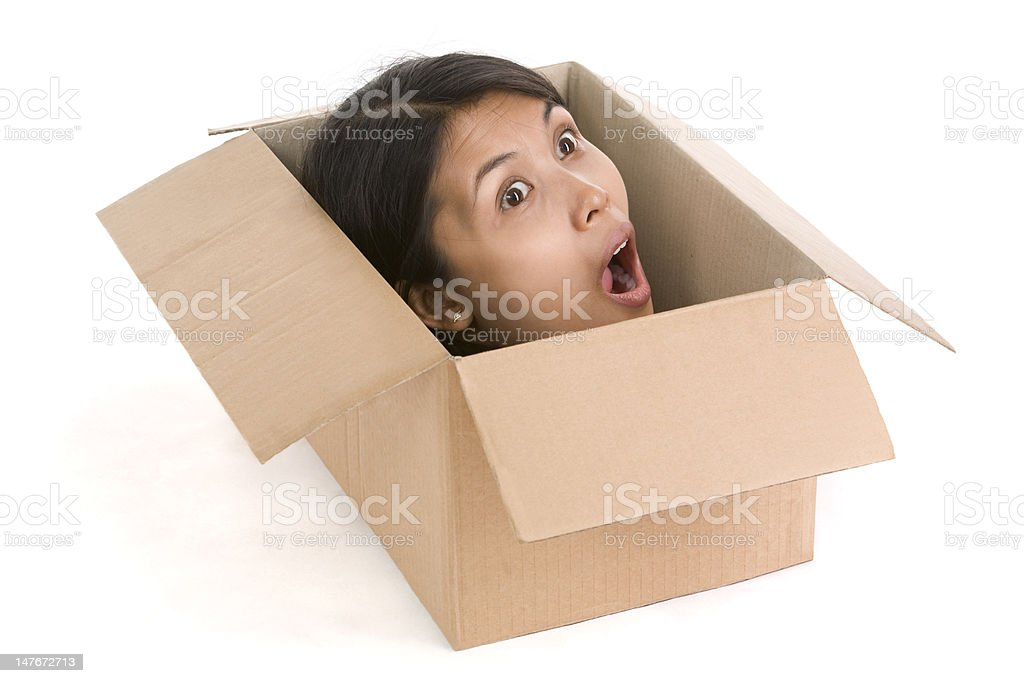 Head in box series - surprised royalty-free stock photo