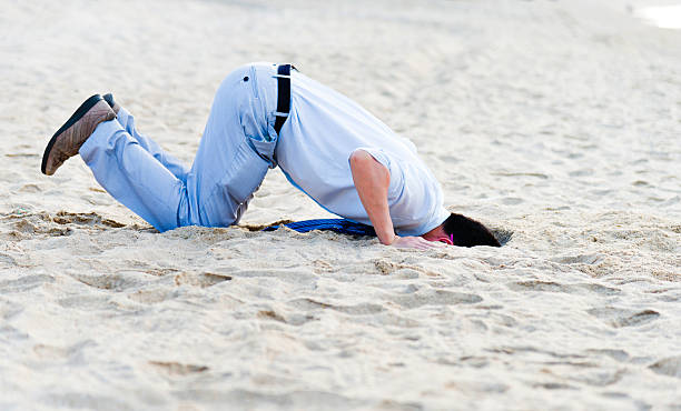 head in sand A businessman hiding head in sand. head in the sand stock pictures, royalty-free photos & images