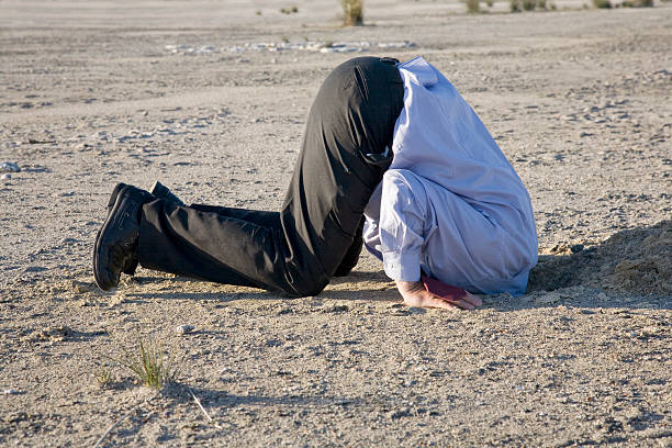 Head in the Sand A business man in denial. An image using humour to represent ignorance, denial and obstinate views we see when people refuse to see the truth. head in the sand stock pictures, royalty-free photos & images
