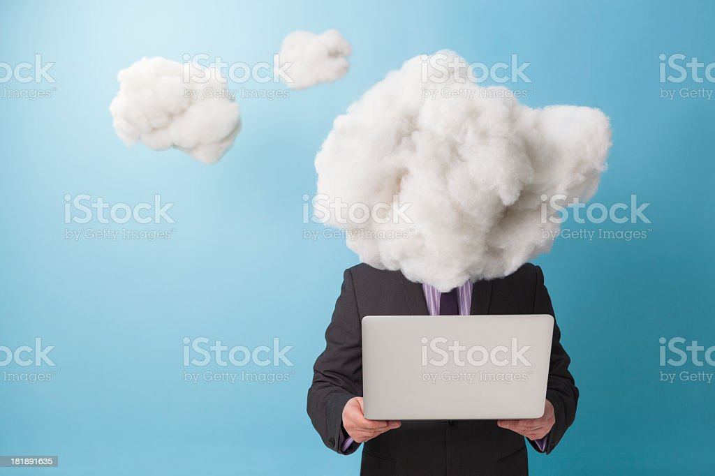 Head in the technology cloud stock photo