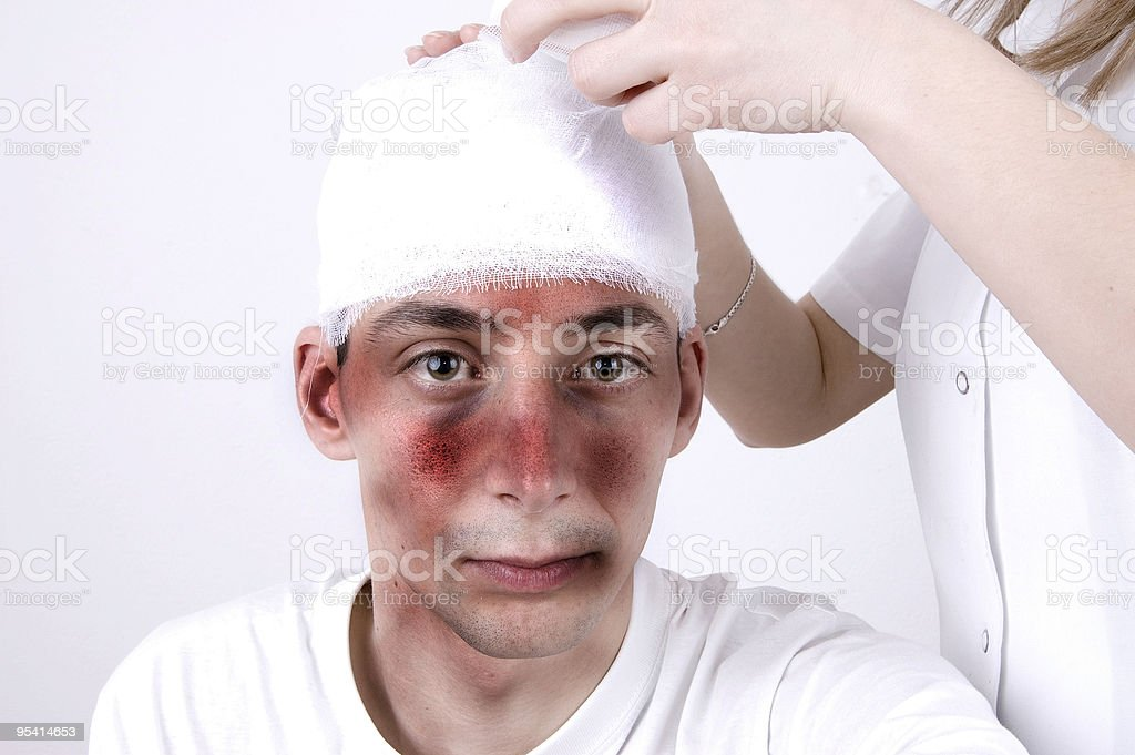 Head injury suffering stock photo