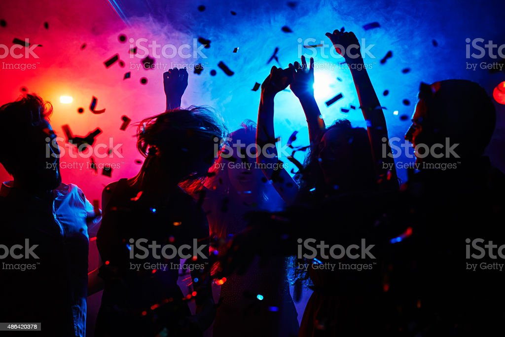 Head is swimming on dance floor stock photo