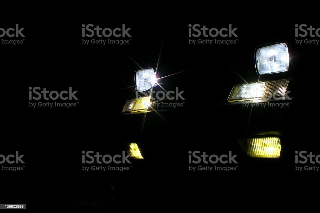 Head light of a car in the dark royalty-free stock photo