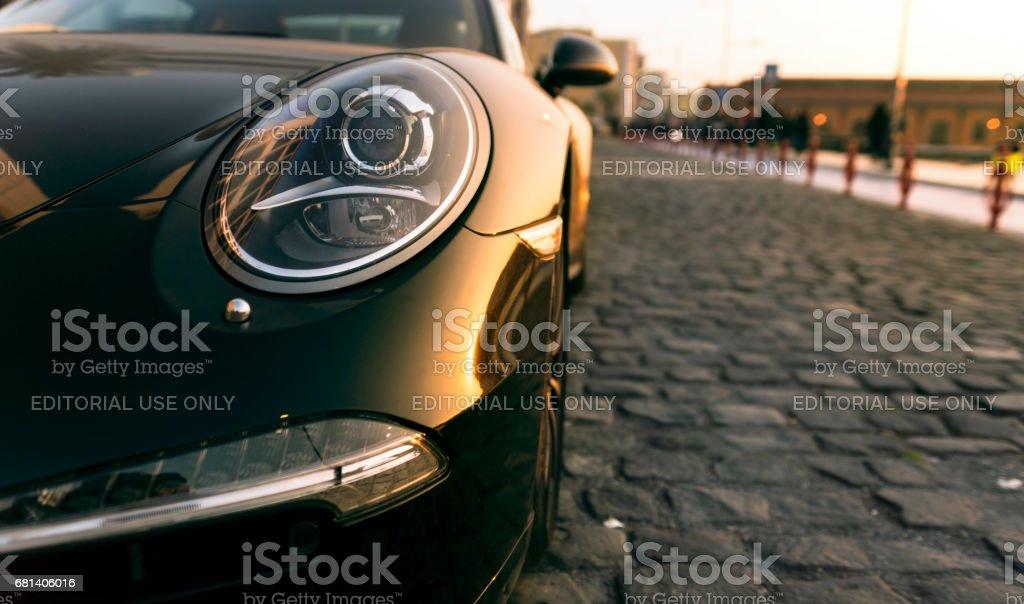 Head light of a porsche car