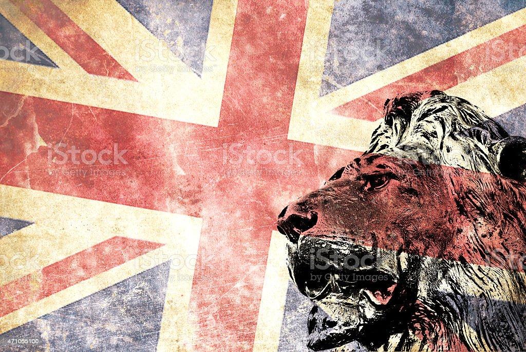 Head lion with Union Jack flag stock photo