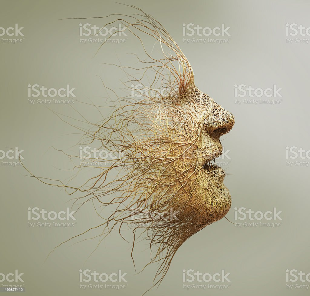 head made of branches stock photo