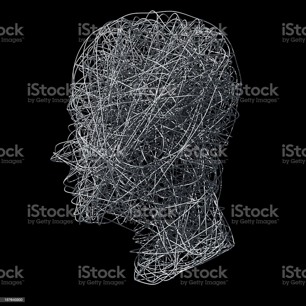 Head made out of wires on black background stock photo