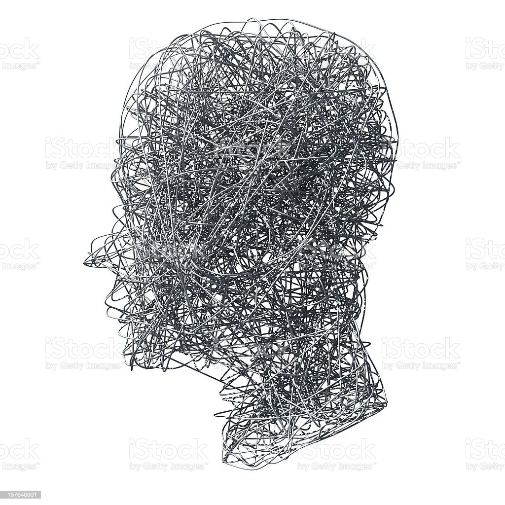 Head made out of wires on white background stock photo
