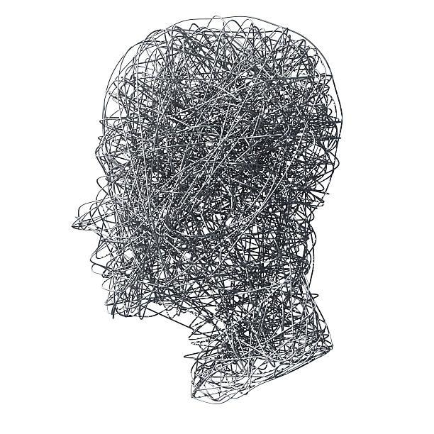 głowa wykonane z przewodami na białym tle - człowiek maszyna zdjęcia i obrazy z banku zdjęć