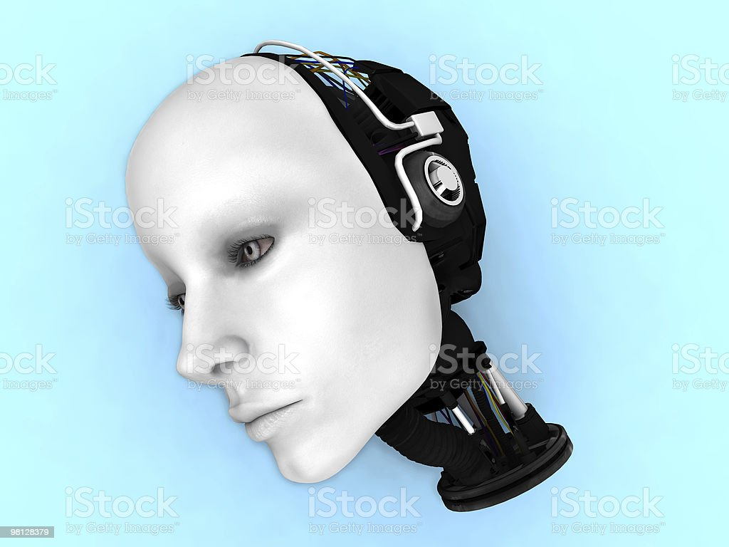 Head of a female robot on the floor. royalty-free stock photo