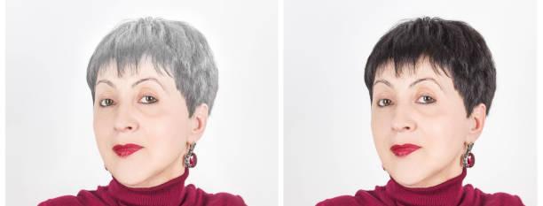 hoofd van een hogere vrouw met grijs haar. haarkleuring. - hair grow cyclus stockfoto's en -beelden