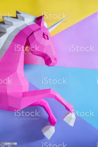 Head of a unicorn of paper on a pink and blue background picture id1195941188?b=1&k=6&m=1195941188&s=612x612&h=7hgkibdf79mkk1esu9lbjyezs7ko0ygafitzaig0uzo=