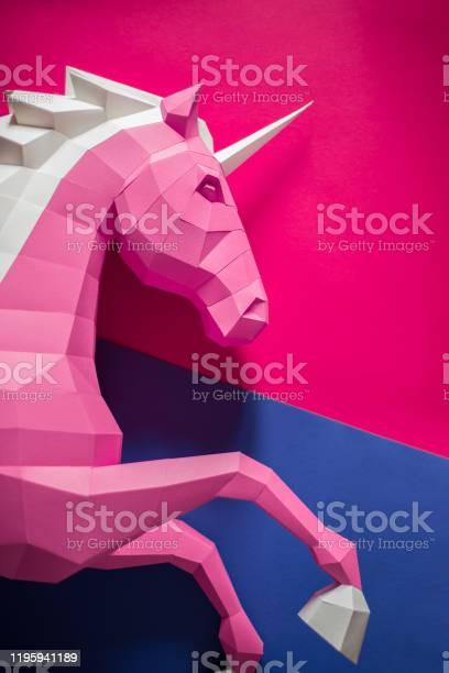 Head of a unicorn of paper on a pink and blue background picture id1195941189?b=1&k=6&m=1195941189&s=612x612&h=rloggu  y3hvu4bkfxrfixme 20tocbgfedvamj5mqu=
