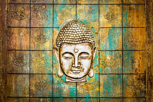 Kopf der Buddha geschnitzten in eine hölzerne Tür. – Foto
