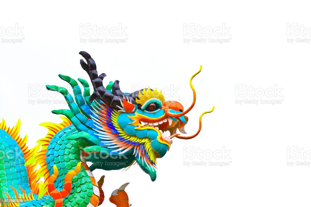 Head of Chinese dragon against white sky stock photo