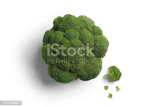Head of green broccoli isolated on white background