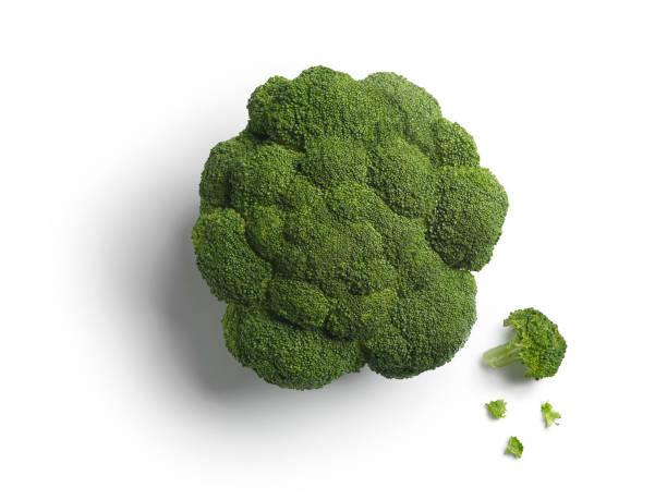 Leiter der grünen Brokkoli isoliert auf weißem Hintergrund Fotos Kopf des grünen Brokkoli isoliert auf weißem Hintergrund – Foto