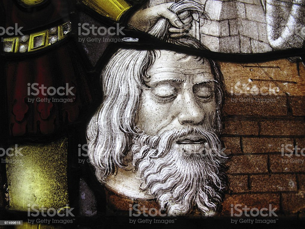 Head Of John The Baptist 16th Century Stained Glass Window royalty-free stock photo