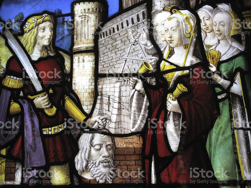 Head of John The Baptist Medieval Stained Glass Window royalty-free stock photo